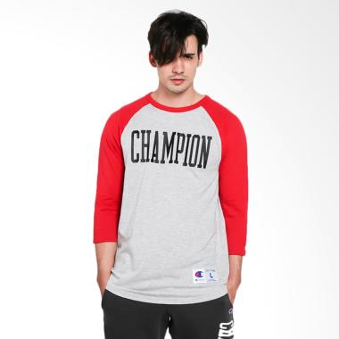 Champion Heritage Baseball Slub Tee Atasan Pria - Oxford Grey Red