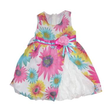 Littleme C Est Lavie Bunga Dress Anak - Putih