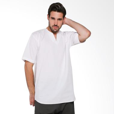 Papercut Men Fox V Slit Shirt Kemeja Lengan Pendek Pria - White