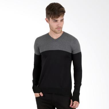Elfs Shop Ariel 2 Tone Rajut Sweater Pria - Abu Tua