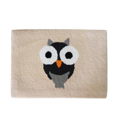 LANAMORA Handtuft Halus Unik Gambar Cute Owl Keset Kaki [40 x 60 cm]