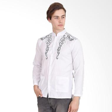 Okechuku Yusuf Bordir Tangan Panjang Baju Koko Pria - Putih