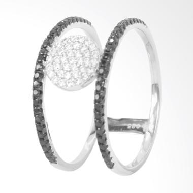 D'Paris Ring Double Round Zircone Cincin