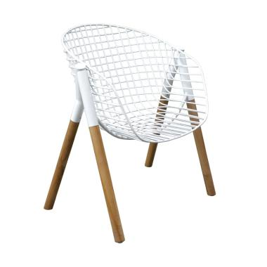 Pine Rotan Andrian Chair - White