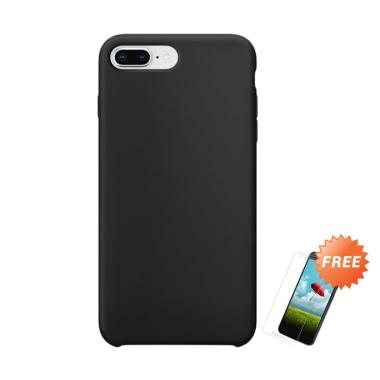 OEM Slim Softcase Casing for iPhone 7 Plus - Hitam Solid + Free Tempered Glass
