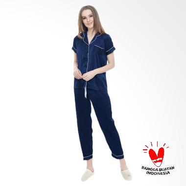 Okechuku CP Satin  Baju Tidur Wanita Lengan Pendek - Navy