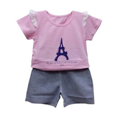 Import Kid 72096 Setelan Baju Bayi Perempuan - Pink [Size 100]
