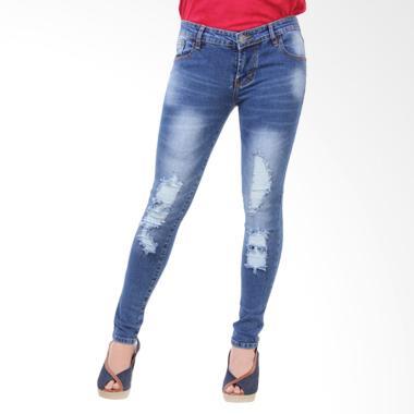 Brielle Jeans 1668 Ripped Skinny Jeans Wanita - Biru Whisker