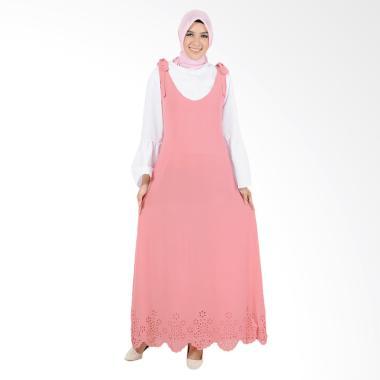 Okechuku Kristal Fashion Muslim Setelan Long Dress Gamis Wanita - Pink