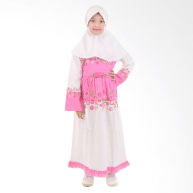 Jesca and Paul Ayesha 208 Gamis Baju Muslim Anak - White