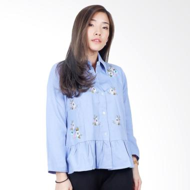 Macadamia House A7505 Alila Tiny Flo Shirt Kemeja Wanita - Light Blue