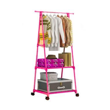 Godric Triangle Stand Hanger Rak Bu ... guna Dengan 4 Roda - Pink