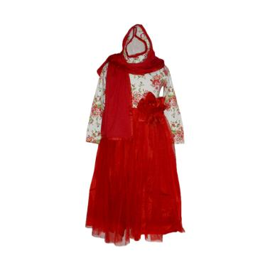 VERINA BABY Tutu Full Print Flowers Gamis Anak Plus Jilbab - Red