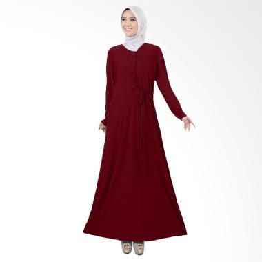 Jfashion Maxi Variasi Kancing Besar Long Dress Gamis - Tiara Maroon