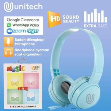 harga Headphone Headset Kabel Unitech J18 Macaron + Microphone Extra Bass - Putih multiwarna Blibli.com