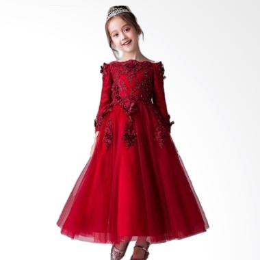 B2W2 Long Embrodiery Flower Tutu Dress Anak - Red