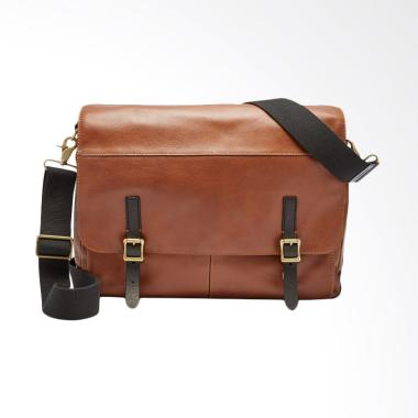 Fossil Defender Slim Leather Cognac Tas Selempang Pria - Brown