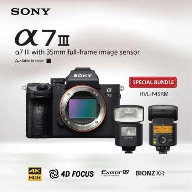 harga SONY Alpha a7III / a7 mark III / ILCE- 7M3 Kit Lensa FE 28-70mm F3.5-5.6 OSS Kamera Mirrorless Full Frame - Hitam bundling HVL-F45RM Blibli.com