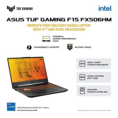 harga ASUS TUF F15 FX506HM-I736B6G-O (Intel® Core™ i7-11800H/8GB/512GB SSD/Windows 10 Home /NVIDIA®GeForceRTX™3060 Laptop GPU) - Eclipse Gray Blibli.com