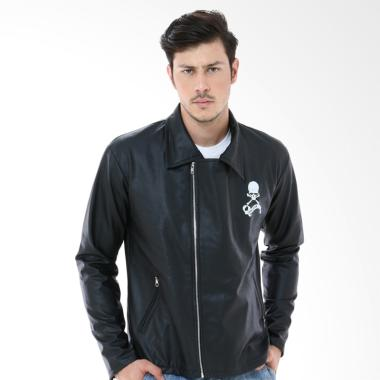 Crows Denim Trend Biker New Series Kulit Jaket Pria - Hitam