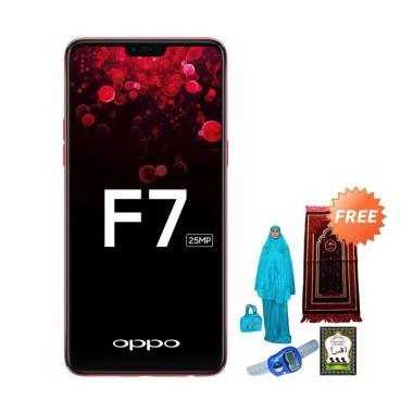 OPPO F7 Pro Smartphone - Red [128GB/ 6GB] + Free Paket Sholat Wanita