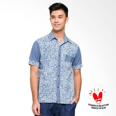Batik Etnik Denim Shirt Motif Kombinasi Kemeja Batik Pria