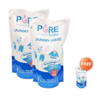 Buy 2 Get 1 - Pure Baby Laundry Liquid Refill Cairan Pembersih Pakaian [900 mL]
