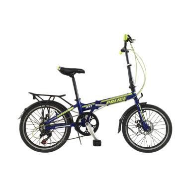 Element Police Texas Folding Bike - Biru List Kuning