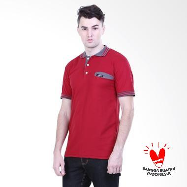 HRCN Red Lines Polo Shirt Pria - Red  HYY 0842   4df51243a4d4