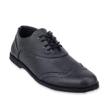 Giant Flames Wingtipe Black Vintage Sepatu Formal Pria