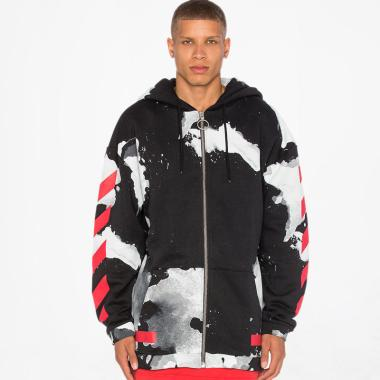 Off White Liquid Spots Zip Hoodie Jaket Pria - Black Red
