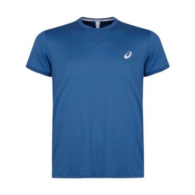 Asics SS Mens Tennis Top Pakaian Olahraga Pria - Blue