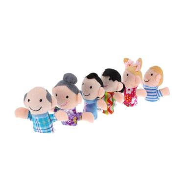 6Pcs Baby Kid Plush Cloth Play Game Learn Story Family Finger Puppets Toys Cute