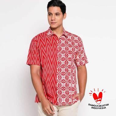 Tobal Batik Pekalongan Baju S S Motif Kombinasi Kemeja Batik Pria Merah Size L