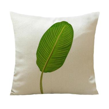 Green Leaves Painting Printed Waist Cushion Cover Throw Pillow Case Home Decor