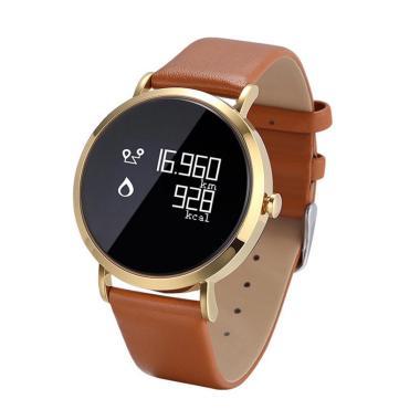 harga Bluelans CV08 Sport Blood Pressure Heart Rate Monitor Bluetooth Smart Wristband Bracelet Leather Band  Gold Blibli.com