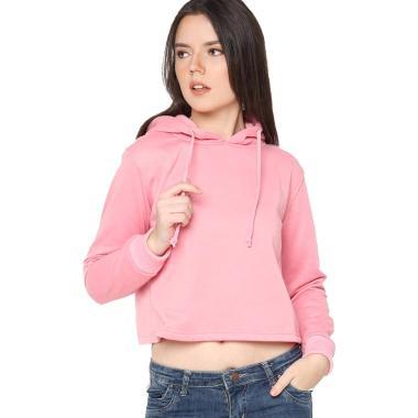 Hoodieku Jumper Basic Crop Jaket Wanita - Pink