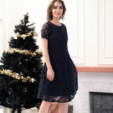 harga BLF Woman Wina Lace Dress -Short Sleeves Mini Dress  Brukat Design Trendy Blibli.com