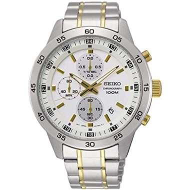 Seiko SKS643P1 Jam Tangan Pria Dial White Stainless Steel Silver Gold