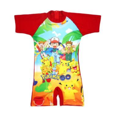 Nice Motif Pokemon Baju Renang Anak - Merah