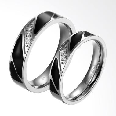 CDHJewelry CC004 Cincin Couple Titanium Anti Karat [Female 7 & Male 9]