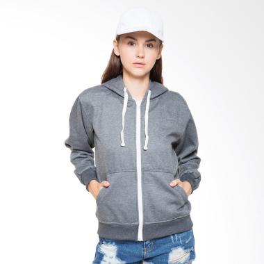 Hoodieku Hoodie Zipper Jaket Wanita - Dark Grey