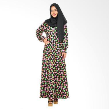 Hanalila Daily Hijab Viola Abaya Bella Motif Dress Muslim - Black