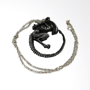 Robagin Logo Alien Covenant Kalung Pria Wanita -  Silver Black