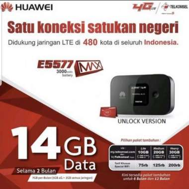 harga Mifi modem wifi router 4G huawei E5577 free telkomsel 14GB 2bln (MAX) Blibli.com