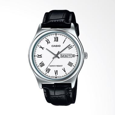 CASIO Standard  Strap Leather Jam T ...  Black White MTP-V006L-7B