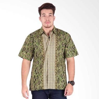 Rianty Batik Mega Mendung Hem Pria - Green