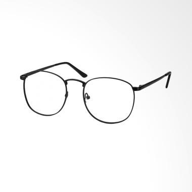 Bulat Korea 0210Lensa Kacamata - Transparent [Frame Hitam] OL127