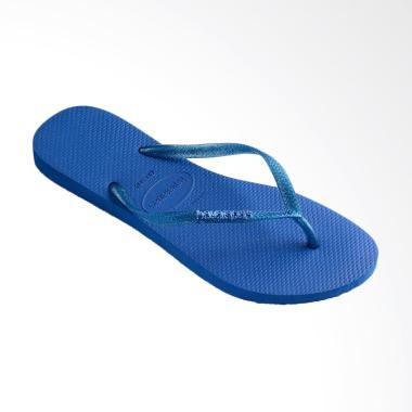 Havaianas Slim Logo Metallic 3847 Sandal Flip Flop Wanita - Blue Star