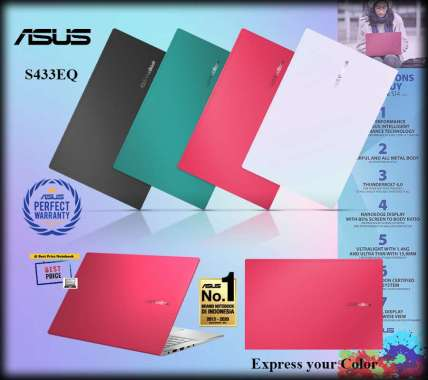 harga Asus S433EQ-AM551IPS Notebook - Red [I5-1135G7 / 8GB / 512GB SSD / MX350 / 14